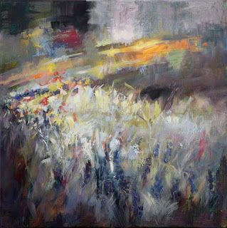 """New """"Symphony in Springtime IV"""" Abstract Wildflower Painting by Niki Gulley"""