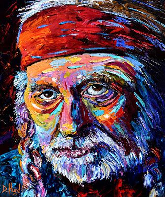 "Oil Painting Portrait Painting, Music, Willie Nelson ""Willie"" by Texas Artist Debra Hurd"