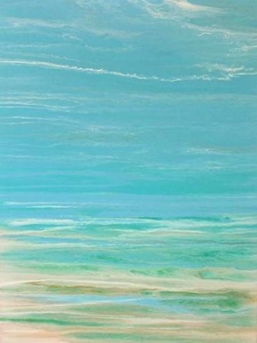 "Contemporary Seascape, Abstract Seascape, Coastal Living Decor, Fine Art ""Whispers on the Water"" by International Contemporary Artist Kimberly Conrad"