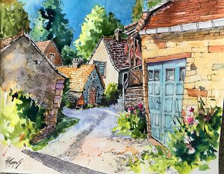 Saint Martin De Vers..Watercolor..Texas Artist..Rae Andrews