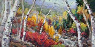 "New ""Autumn Cascades"" Palette Knife Aspen Painting by Niki Gulley"