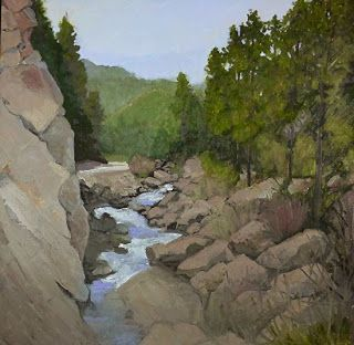 """""""Water Boulders and Pines"""" Original Colorado Mountain, Stream Landscape Oil Painting by Colorado Artist Susan Fowler"""