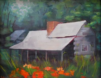 John Oliver Cabin in Cades Cove, TN, daily painting, small oil painting, rustic wall decor, cabin wall decor