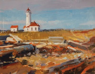 """Point Wilson Lighthouse"" oil landscape painting by Robin Weiss"