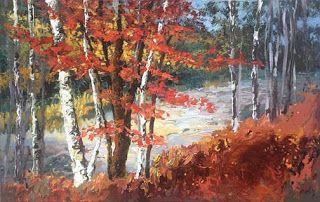 """Flowing into Autumn"" Palette Knife Painting by Niki Gulley"