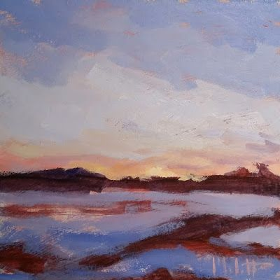 Contemporary Impressionism Winter Sunset Landscape Oil Painting