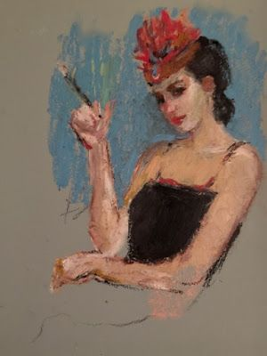Nellie's Red Hat - original oil pastel figurative drawing