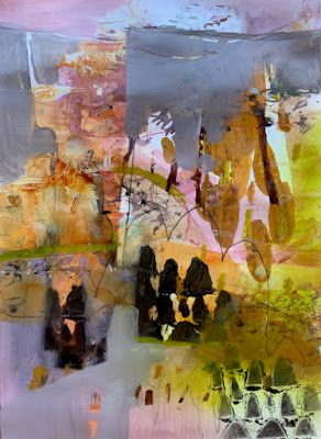 """Contemporary Landscape, Painting, Abstract Art """"Hills and Trees"""" by Intuitive Artist Joan Fullerton"""