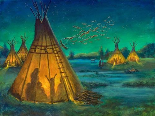 "Native American Art,Western Landscape, Teepee Painting ""THE STORYTELLER"" by Colorado Artist Nancee Jean Busse, Painter of the American West"
