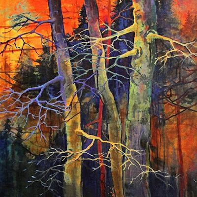"""Fine Art Prints, Colorful Abstract Trees """"Twilight Dance"""