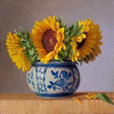 Sunflower in an oriental ceramic pot, original oil painting still life contemporary realism flower flora a painting a day