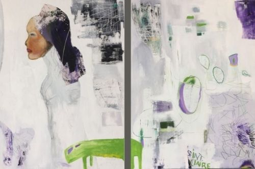"""Abstract Figure, Portrait, Contemporary Art, Abstract,Expressionism, Studio 9 Fine Art """"Mirror, Mirror"""" by International Abstract Artist Amanda Saint Claire"""