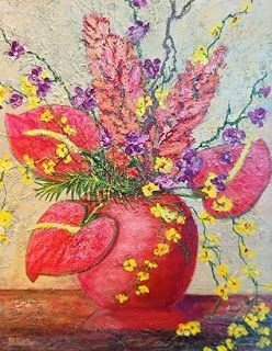 "Original Still Life Floral Painting ""Tropical Dreams"" by Florida Impressionism Artist Annie St. Martin"