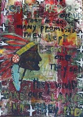 "Abstract , Folk Art, Narrative Art Painting, Native American Portrait ""Broken Promises"" Narrative Art by Santa Fe Artist Judi Goolsby"