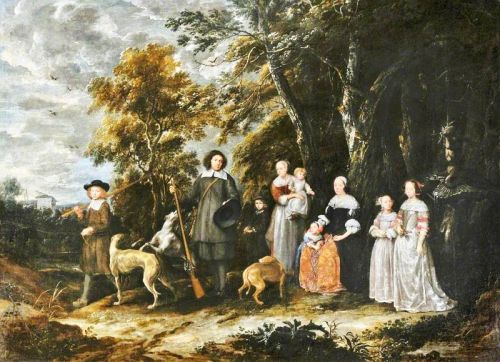 The 17C Family Portrayed Outdoors in their Hunt Park