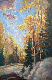 """Autumn Journey"" - Colorado Aspen Painting by Contemporary Impressionist Niki Gulley"