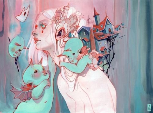 Audra AuclairBright colors mix smoothly with dark surrealism in