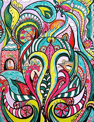 Colorful Contemporary Mixed Media Illustration Art Drawing