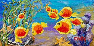 """Fish Painting, Underwater,Under the Sea, Starfish """"School's Out"""" by Florida Impressionism Artist Annie St Martin"""