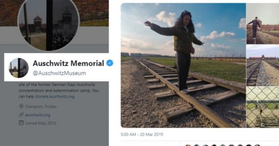 Auschwitz: Railway Into Concentration Camp is NOT a Balance Beam for Pics