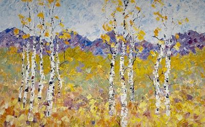 "Impressionist Aspen Tree Landscape Painting, Palette Knife Painting ""The Softness of Spring"" by Colorado Impressionist Judith Babcock"