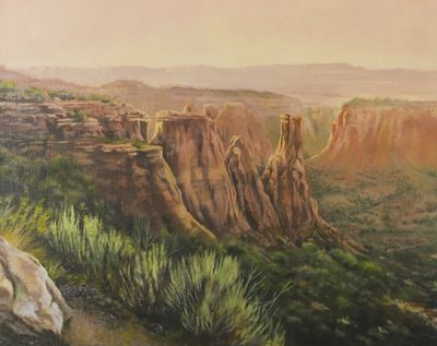 "Original Colorado Mountain Landscape Painting,""Kissing Couple at Sunset"" by Nancee Jean Busse Painter of the American West"