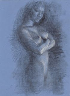 Standing female nude drawing on toned paper