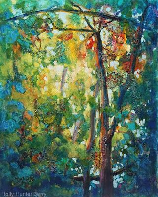 "Colorful Contemporary Landscape Painting, Abstract Landscape, Tall Trees ""Breakthrough"" by Passionate Purposeful Painter Holly Hunter Berry"