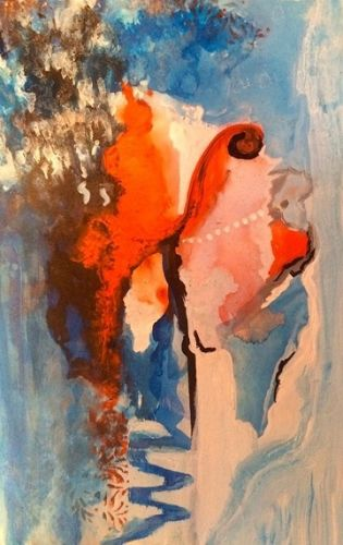 """Contemporary Abstract Mixed Media Painting """"Painted Head"""" by California Artist Cecelia Catherine Rappaport"""