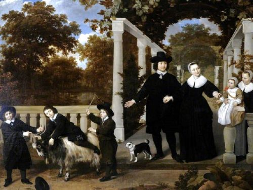 The 17C Family Portrayed on a Garden Walkway
