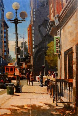"""Hammered Seattle"" Seattle city oil painting by Robin Weiss"