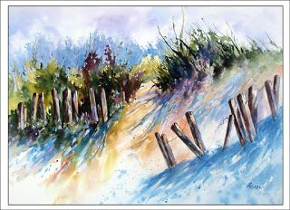 Blue Cast In The Dunes..Watercolor..Texas Artist.,..Rae Andrews
