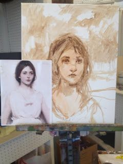 Step by step process for a portrait in oil by Margaret Aycock