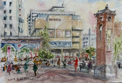 Sketches at Insadong street, Seoul