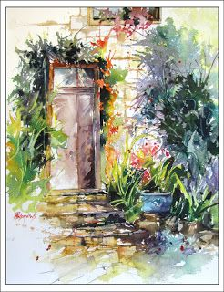 Frayssinet Doorway..Watercolor..Texas Artist..Rae Andrews