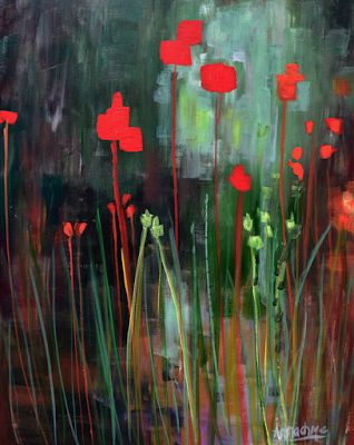 """Abstract Environmental Art Flower Painting """"Memory Garden"""" by International Abstract Realism Artist Arrachme"""