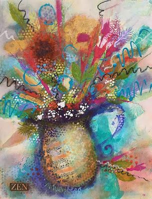 "Contemporary Mixed Media Flower Art Painting, Abstract Floral ""Dance With Light and Color"" by Illinois Artist Marilyn Weisberg"