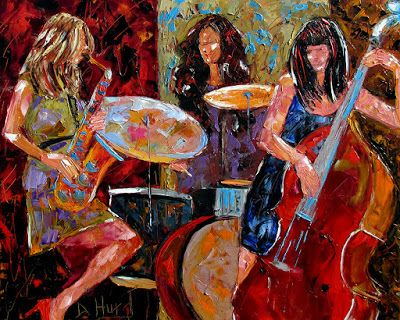 "Jazz Music Paintings Jazz Women Instruments Painting Fine Art""Jazzy Woman series 1"" by Texas Artis Debra Hurd"