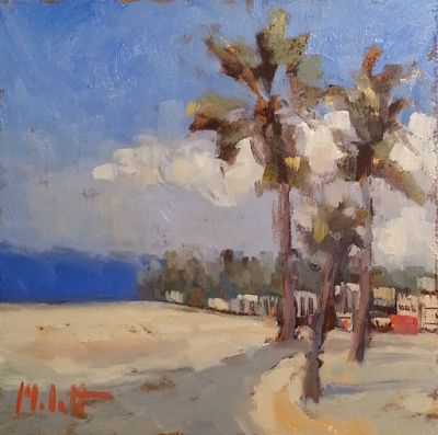 California Breezes Palm Trees and Beaches Original Impressionism Oil Painting