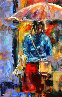 "Rainy City Painting, Abstract Cityscape, Figurative Umbrella ""Rainy Day People 2"" by Texas Artist Debra Hurd"