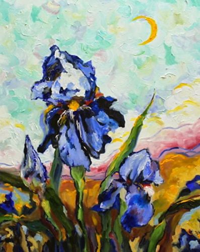 "Floral Art Iris Painting,Flower Art ""Viva Van Gogh Irises"" by Georgia Artist Pat Warren"