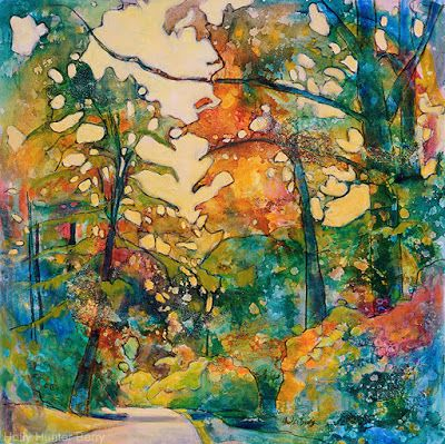 "Contemporary Colorful Landscape Painting,Mixed Media, Trees, Fine Art For Sale, ""The Road is Still On The Map"" By Passionate Purposeful Painter Holly Hunter Berry"