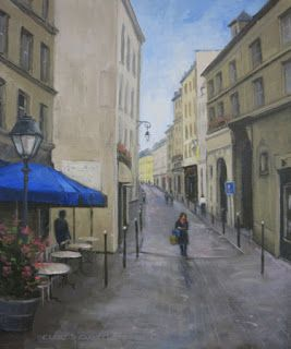 'After the Rain' Il Commencé à Paris Series An Original Oil Painting by Claire Beadon Carnell