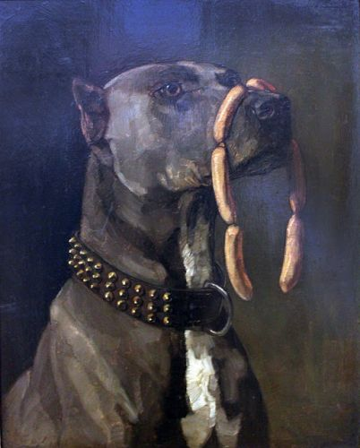 """Great Dane with Sausages: """"Caesar, those who are about to die salute you!"""""""
