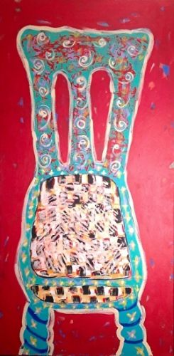 "Abstract , Folk Art, Narrative Art Painting, ""Chair-Part 2"" Narrative Art by Santa Fe Artist Judi Goolsby"