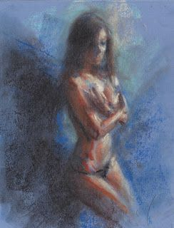 Female figure undressing, pastel on blue paper