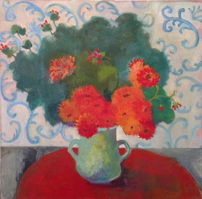 "Bold Expressive Still Life Art Painting ""Orange Dahlias"" by Santa Fe Artist Annie O'Brien Gonzales"
