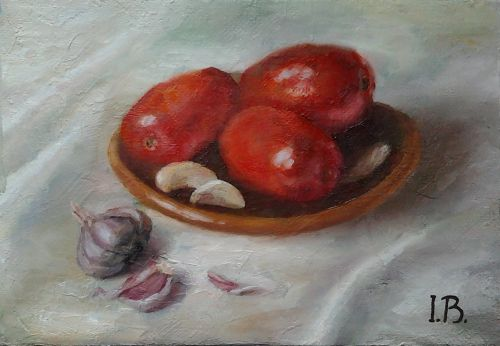 "Original oil painting ""Tomatoes and garlic"". Size 6,9 x 9,8 inch (17,5 x 25 cm). Canvas on hardboard"