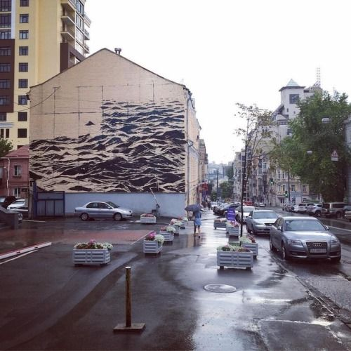 A Turbulent Black Sea Fills a Three-Story Wall in Kiev