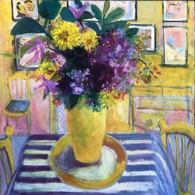 "Greeting Card, Original Art, Contemporary Bold Expressive Still Life, ""Monet's Table"" by Bold Expressive Painter, Santa Fe Artist Annie O'Brien Gonzales"